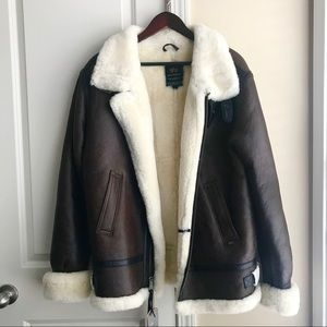 REDUCED! NEW Sherpa Genuine Leather winter jacket